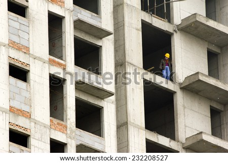 A worker at a constructing site, Datong, China - stock photo