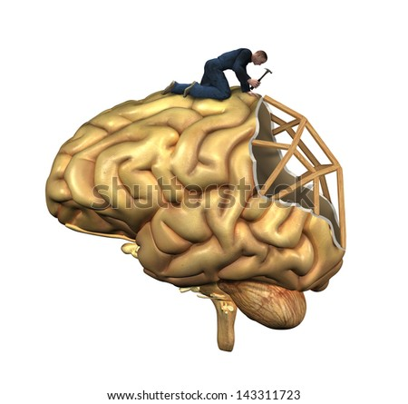 A worker is in the process of rebuilding a human brain - 3D renders and digital painting. Illustrates recovery from brain injury, - stock photo