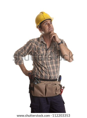 a worker thinking your next job - stock photo