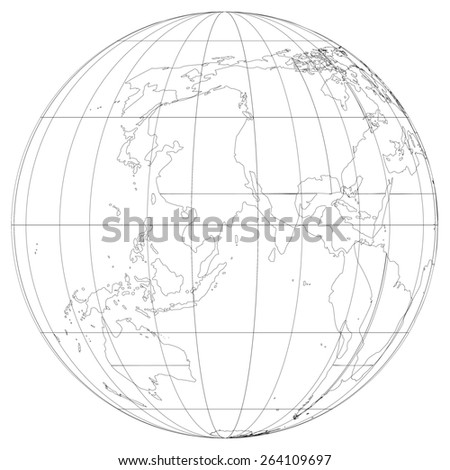A World Map and Globe Detail Illustration - stock photo