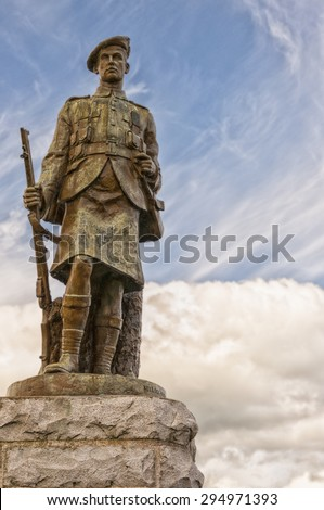 A world war one memorial situated against a peaceful sky backdrop in the Scottish town of Inveraray - stock photo