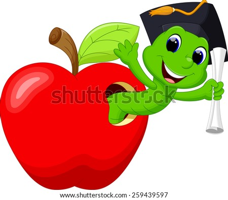A worm in the red apple was glad to have a college degree - stock photo