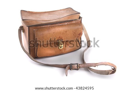 A worn leather case. - stock photo