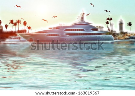 A yacht on the sea in the background of birds and sunset - stock photo