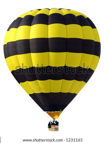 A yellow and black hot-air balloon, with passengers in the basket, against a white background. - stock photo