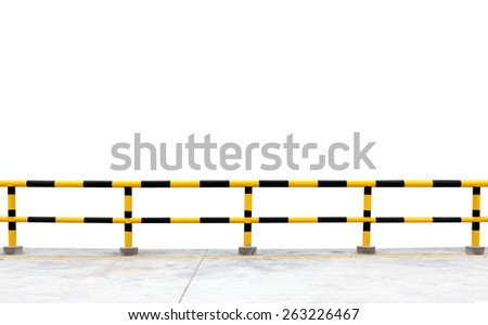 A yellow and black safety railing, isolated against white.  - stock photo