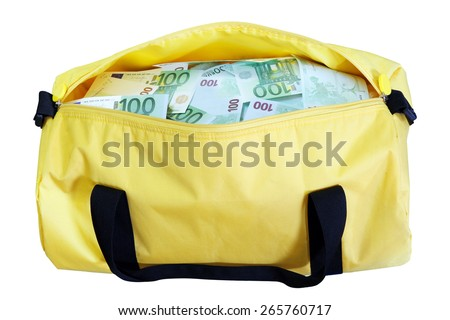 A yellow bag full of green 100 euro money - stock photo