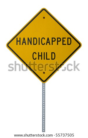 A yellow handicapped child sign - stock photo