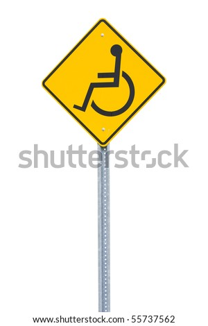 A yellow handicapped sign - stock photo