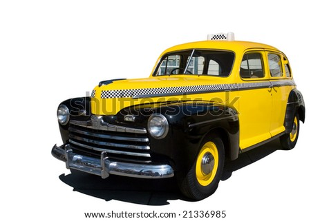 A yellow vintage New York taxi cab. - stock photo