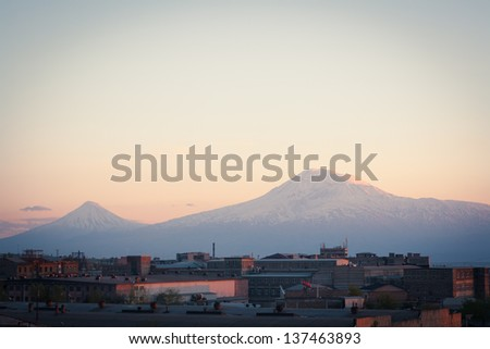 A Yerevan view of Mount Ararat at sunset - stock photo