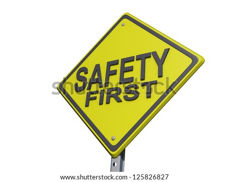 "A yield road sign with ""Safety First""on a white Background. - stock photo"