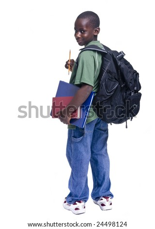 A young african american student ready for school - stock photo