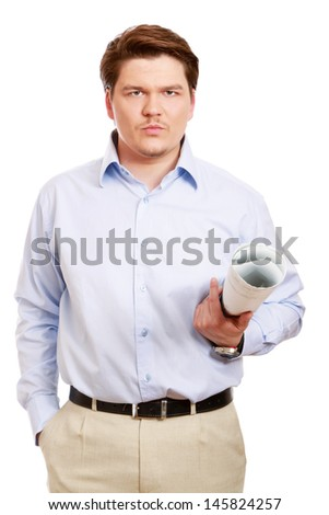 A young architect with rolled drafts - stock photo