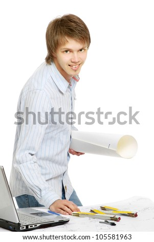 A young architect working - stock photo