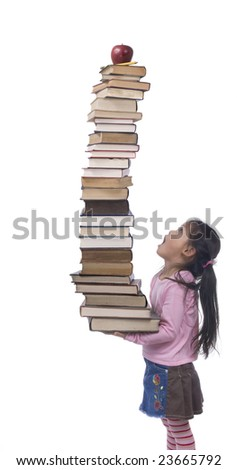A young asian Girl hold the weight of knowledge. - stock photo