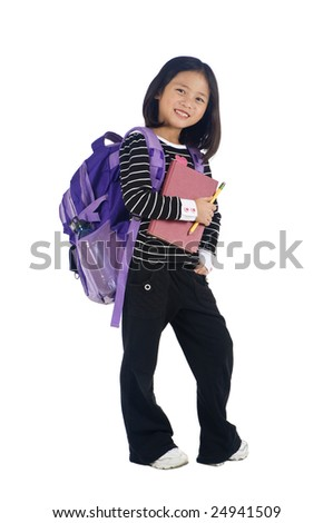 a young asian school girl ready for school - stock photo