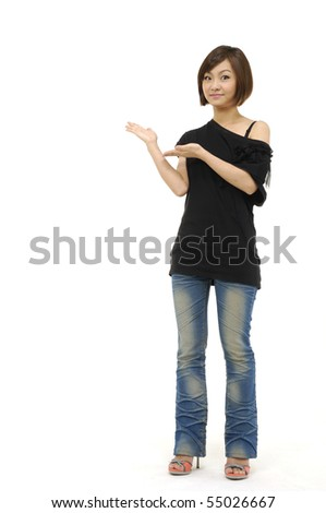 a young Asian woman gesturing - stock photo