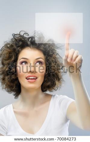 a young beautiful woman making choice - stock photo