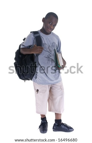 A young black student ready for school. Isolated on white - stock photo