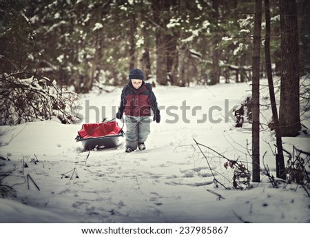 A young boy dressed for cold weather pulls a sled by a rope along in the snow in a forest during the winter season.  Filtered for a retro, vintage look.  - stock photo