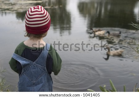 A young boy in overalls and a cap feeds ducks from the side of the pond - stock photo