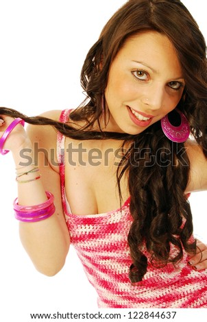 A young brunette in red and white - 136 - stock photo