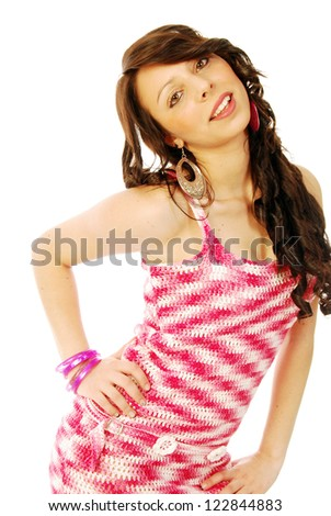 A young brunette in red and white - 132 - stock photo