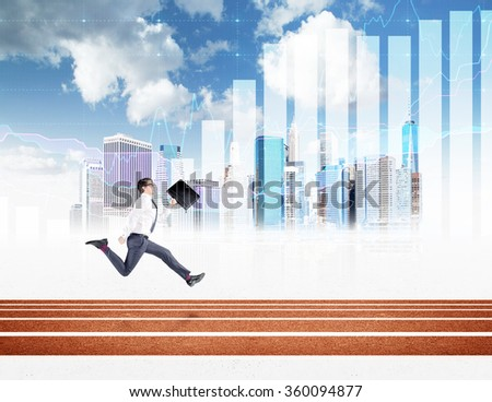 A young businessman running forward with a black folderin hand. New York, blue sky and graphs at the background. Concept of competition. - stock photo