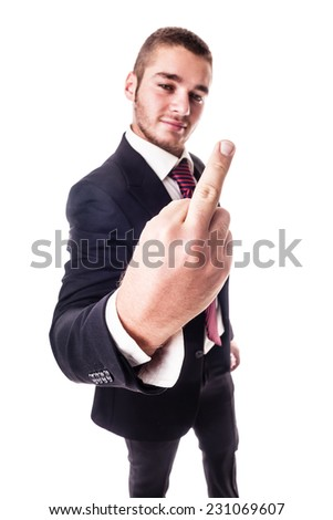 a young businessman showing the middle finger in a rude gesture isolated over a white background - stock photo