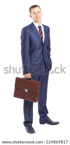 A young businessman with a portfolio. - stock photo