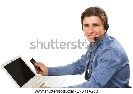 A young businessman working - stock photo