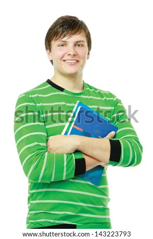 A young college guy holding books, isolated on white background - stock photo