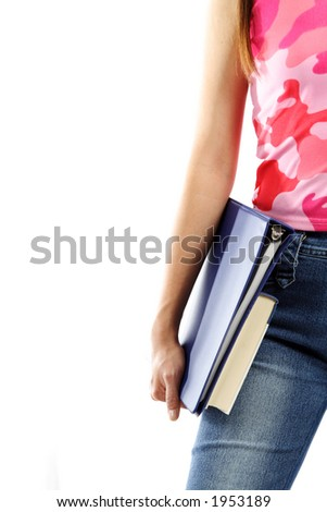 A young college student carrying books (isolated white) - stock photo