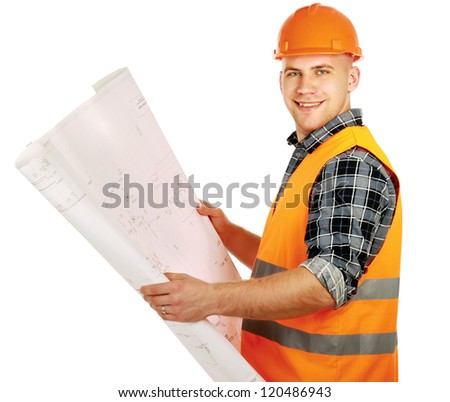 A young construcation worker with a draft, isolated on white background - stock photo