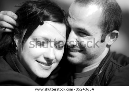 A young couple are happy together - stock photo