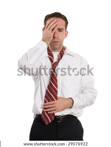 A young employee suffering from a stomach ache and a headache at the same time, isolated against a white background - stock photo