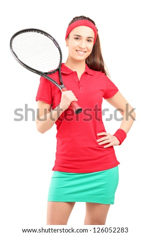 A young female holding a tennis racket isolated on white background - stock photo