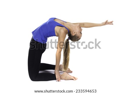 a young girl doing exercise - stock photo