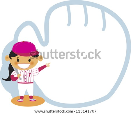 A young girl dressed in baseball jersey with large baseball gloves - stock photo