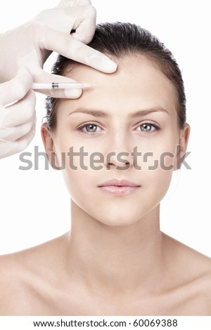 A young girl makes the procedure - stock photo