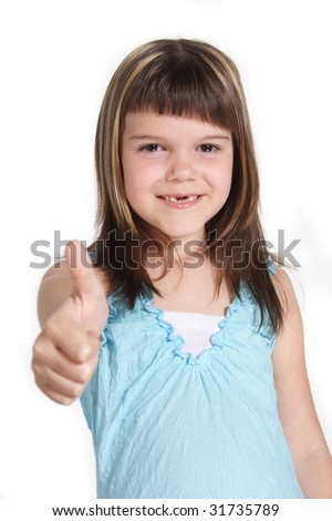 A young girl making a positive gesture. All isolated on white background. - stock photo