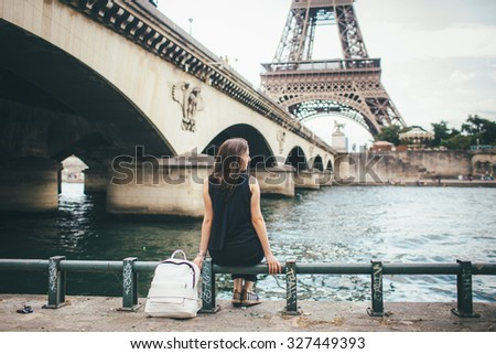 a young girl of Caucasian appearance in Paris  - stock photo