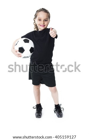 A Young girl play soccer ball, Isolated over white - stock photo