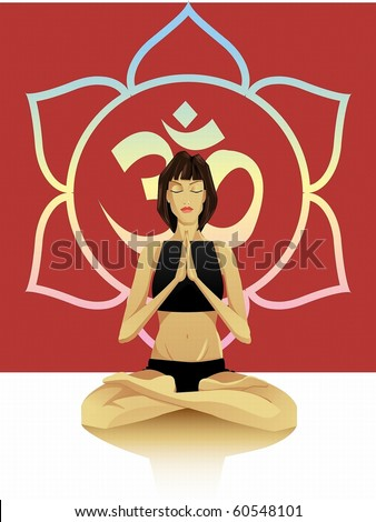 A young girl sitting in the lotus position, hands namaste - stock photo