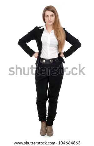A young girl stands at full height with a businesslike air. Hands on your belt! On a white background. - stock photo