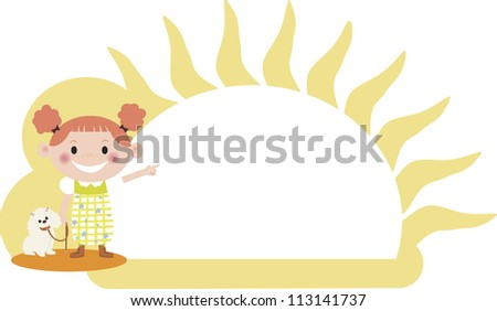 A young girl walking with her dog with sun in the background - stock photo