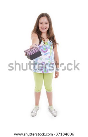 a young girl with a box on her hand - stock photo