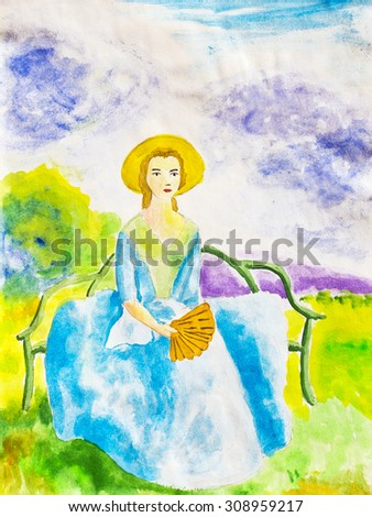 A young girl with a fan sitting on the bench. Watercolor - stock photo
