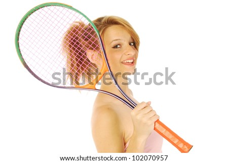 A young girl with her tennis racket 151 - stock photo